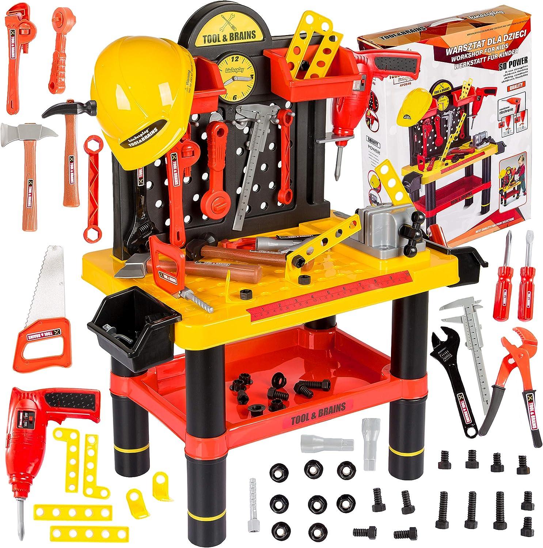 Kinderplay Banco Herramientas Juguetes Y Casco Tool& Brains, Taller Mecanico Juguete, Juego de Imitación Actividad Infantil Conjunto Banco de Trabajo KP2646