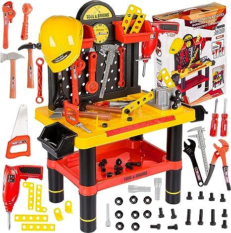 Werkbank Kinder Kinderwerkbank Zubehor Werkstatt Kp2646 Kleinkindspielzeug Kinderbank Werkzeug Schrauben Und Bauelementen Inkl Helm Zubehor Kinder Werkzeugbank Amazon De Spielzeug
