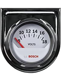 "Bosch SP0F000043 Style Line 2"" Electrical Voltmeter Gauge (White Dial Face, Chrome Bezel)"