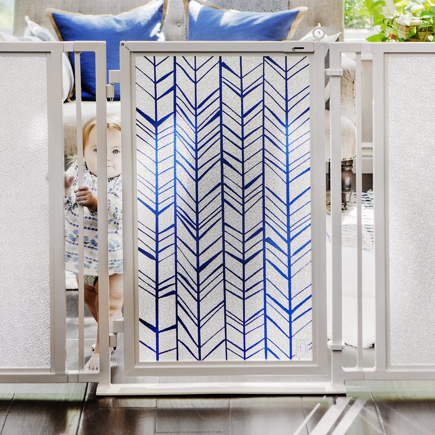 Baby & Dog Gates featuring Chevron Trail in Blue Art Screen Design from Fusion Gates (White Pearl, 36'' - 52'') by Fusion Gates