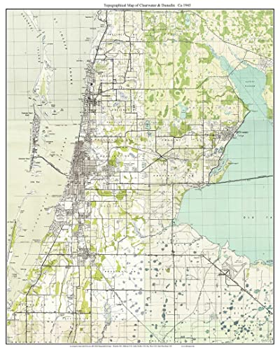 Topographic Map Of Florida.Amazon Com Clearwater Dunedin Florida 1943 Topo Map A Composite