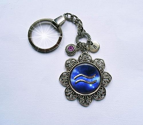 Aquarius Zodiac Key Ring or pendant
