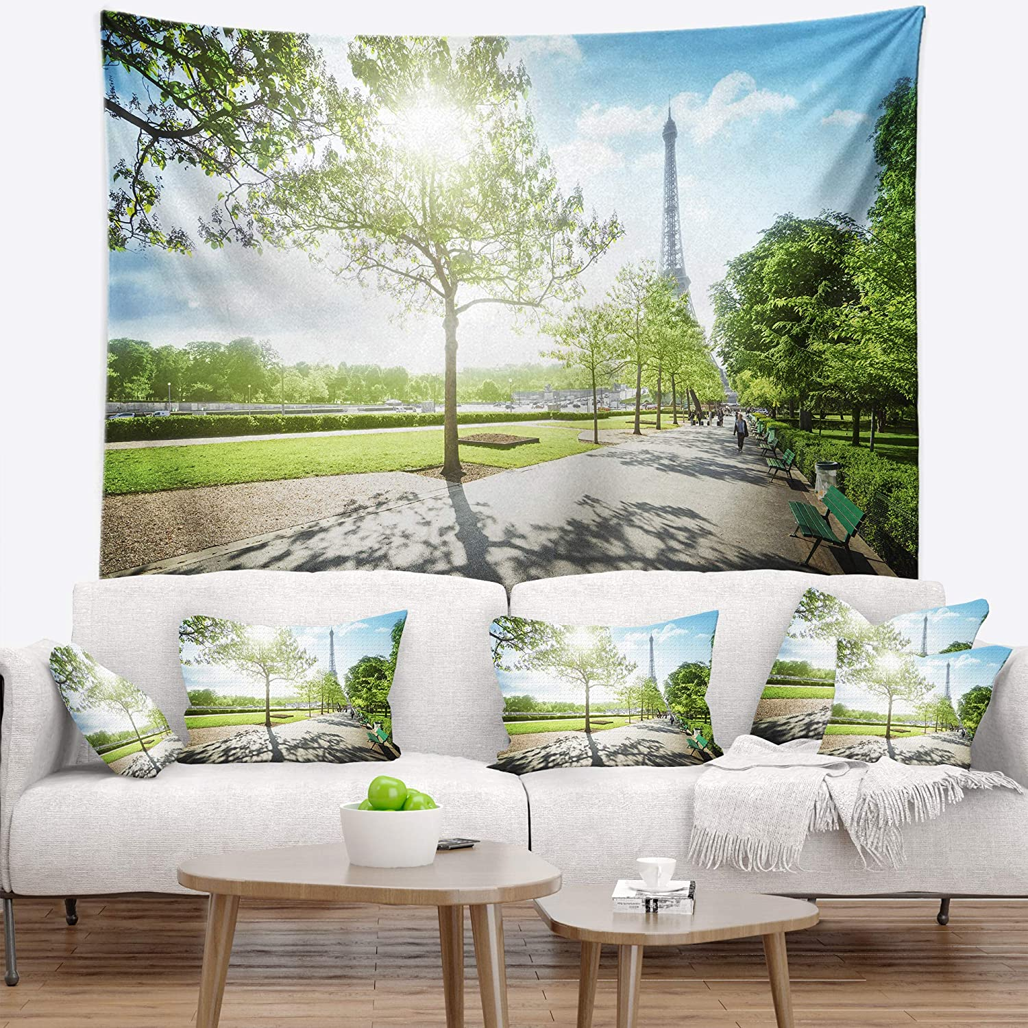 x 32 in 39 in Designart TAP14884-39-32  Paris Eiffel Towerat Sunny Morning Landscape Blanket D/écor Art for Home and Office Wall Tapestry Medium Created on Lightweight Polyester Fabric