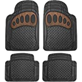 FH Group Heavy Duty Tall Channel F11310BLACK Rubber Floor Mat Black with Brown Pattern Full Set Trim to Fit