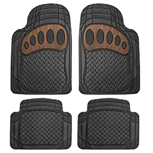 FH Group F11310BLACK Black with Brown Pattern 4 Piece Heavy Duty All Weather Floor Mats