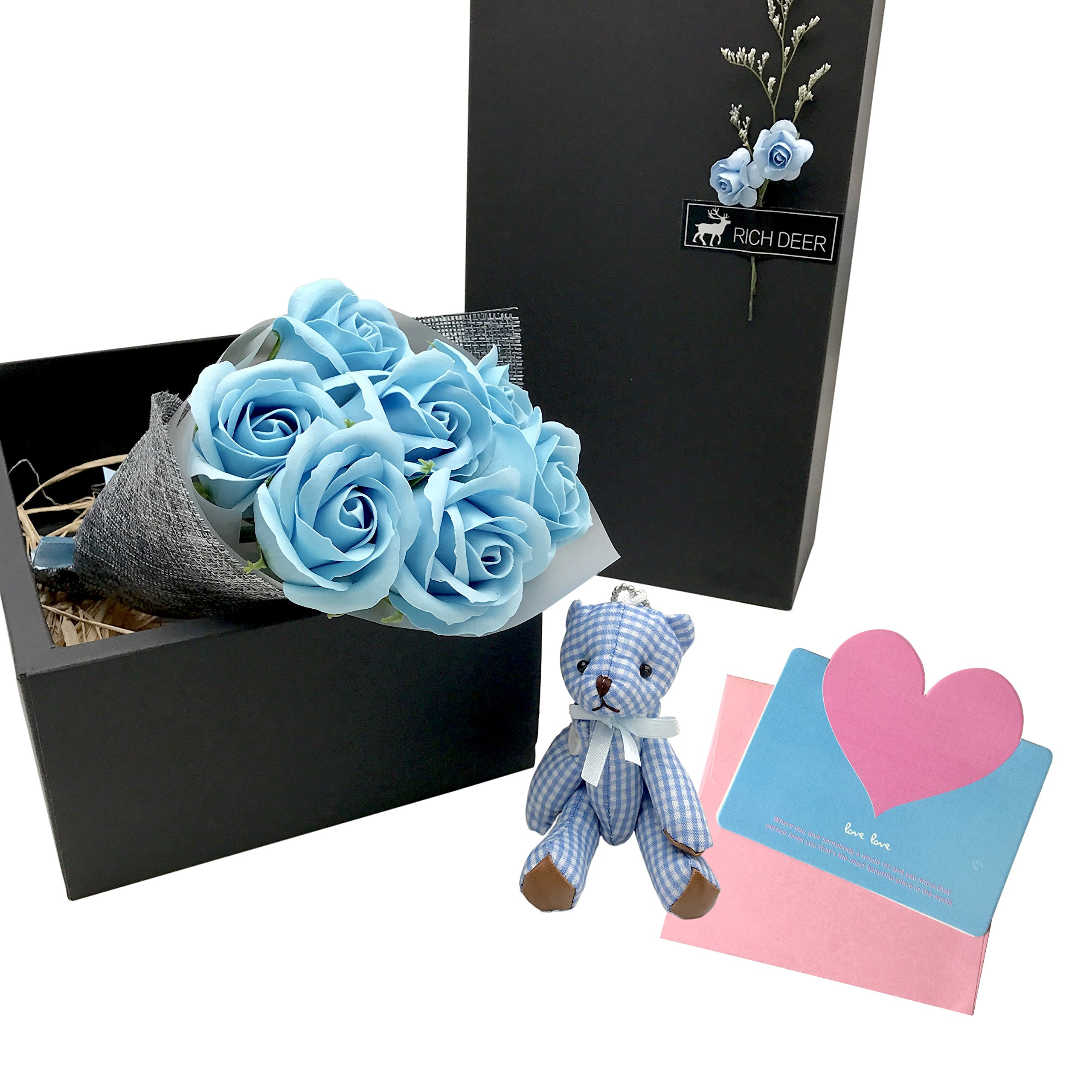 Valentines Day Unique Scented Bouquet Rose Flower Gift Box Include Plant Essential Oil Rose Soap Cards Action Figure Bear Great Gifts Idea For Her Women Teen Girls Mom Daughter (Blue)