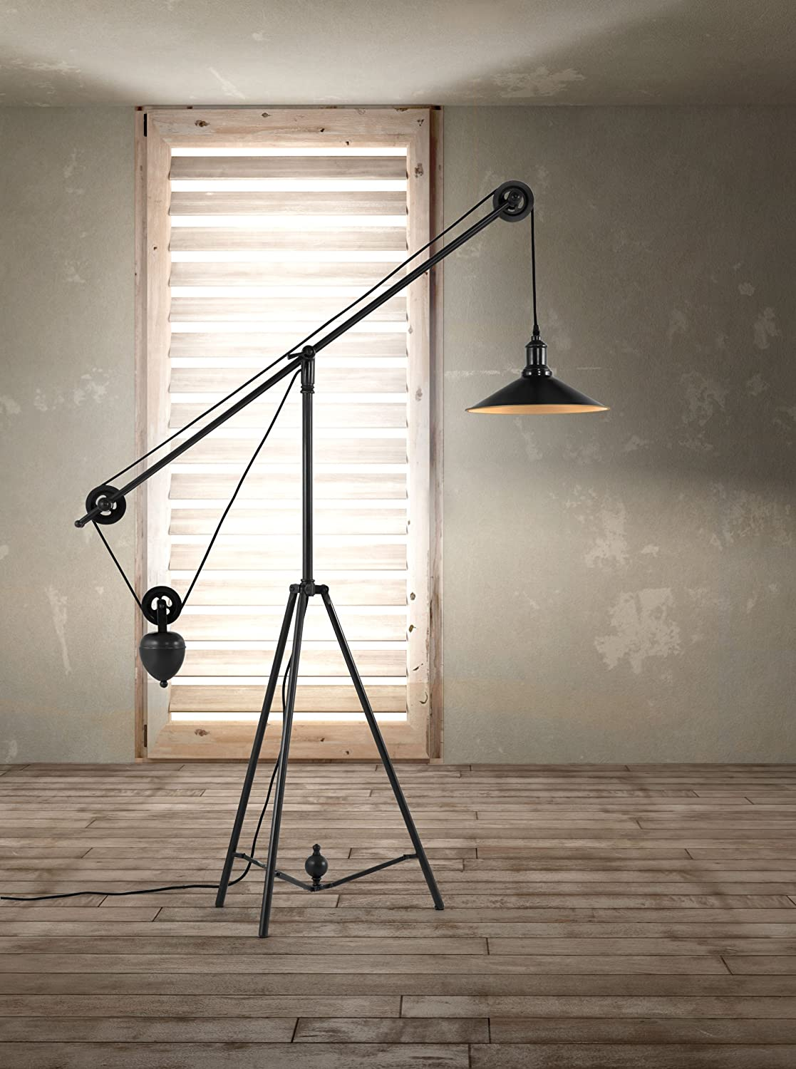 Good Zuo Modern 98235 Jasper Floor Lamp, Antique Black Gold   Pulley Floor Lamp    Amazon.com