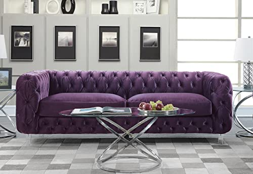 Iconic Home Modern Contemporary Tufted Velvet Down-Mix Cushons Acrylic Leg Sofa, Purple