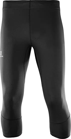 a7959b77fd5c7 Salomon Men's 3/4 Tight Running Shorts, AGILE TIGHT, Jersey, Black,