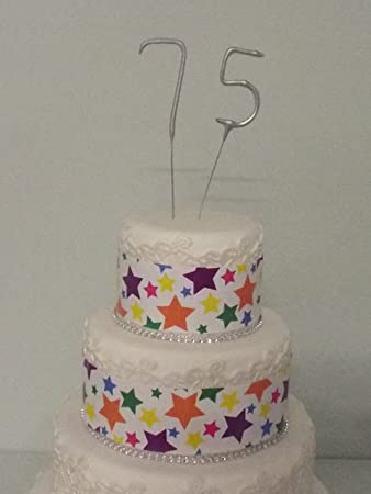 Sparkler Sparkling Number Birthday Cake Candles Age Aged 75 75th