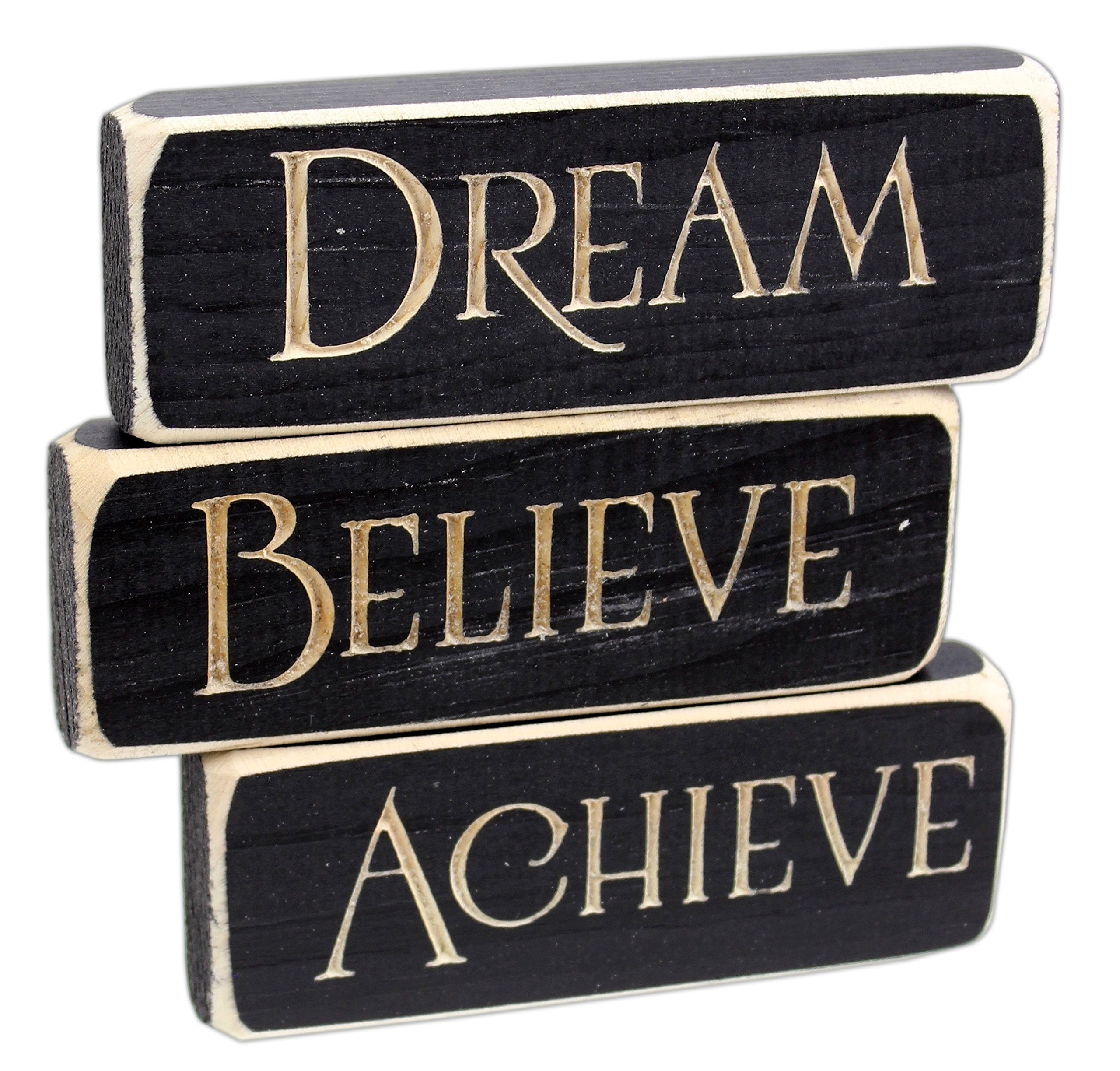 Heartwood Hollow Set of 3 5'' x 1.5'' Inspirational Engraved Wood Block Signs (Achieve Dream Believe)