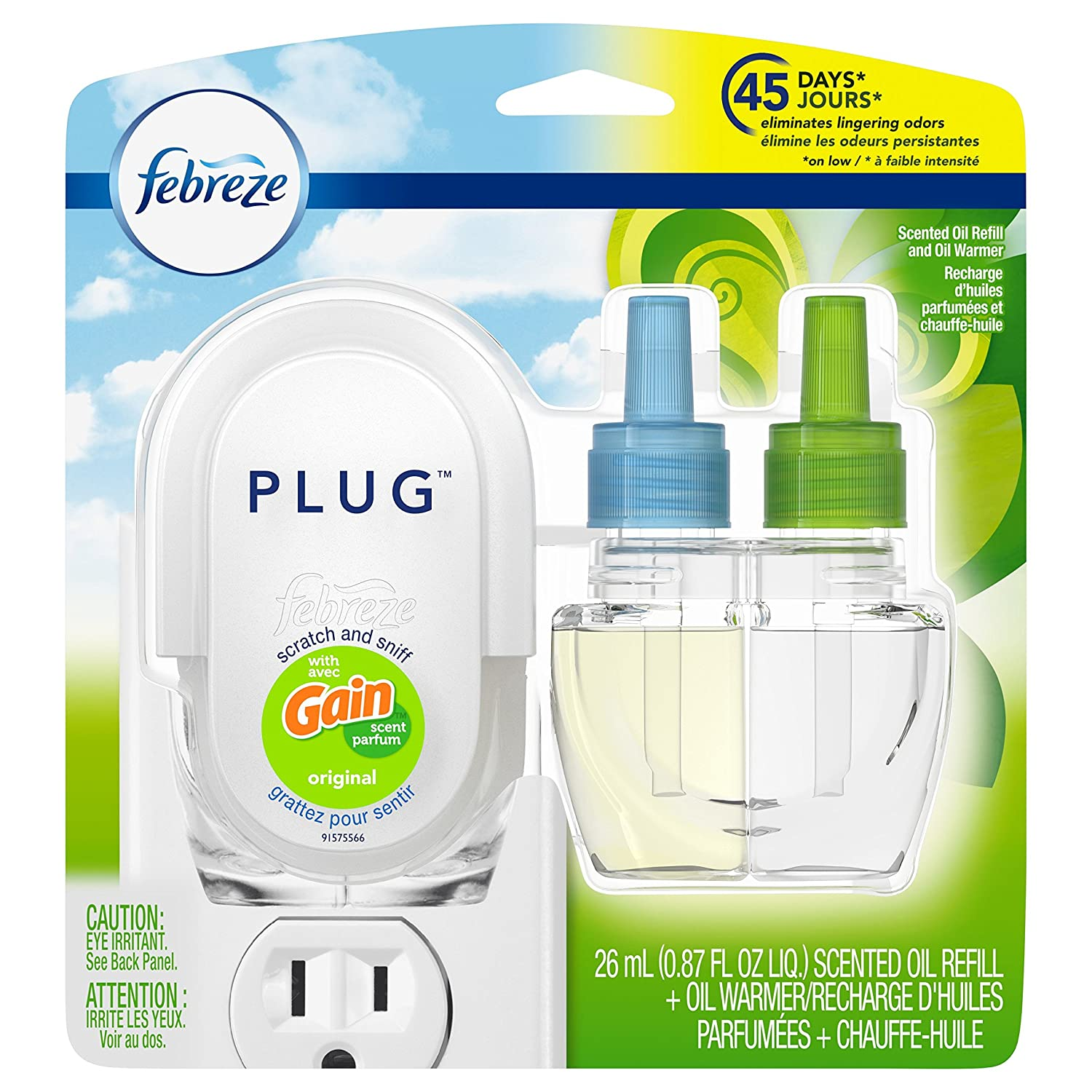 Febreze Plug In Air Freshener with Warmer & Scented Oil Refill, Gain Original, 0.87 Ounce