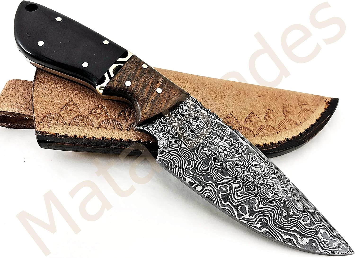MATA BLADES 8.5 INCH Fixed Blade Black Horn and Rose Wood Custom Handmade Damascus Knife