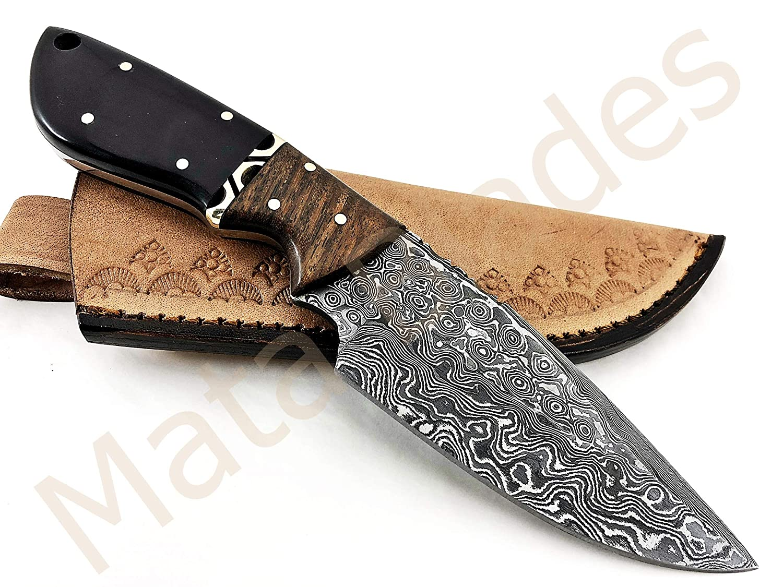 MATA BLADES 8.5 INCH Fixed Blade Black Horn and Rose Wood Custom Handmade Damascus Knife