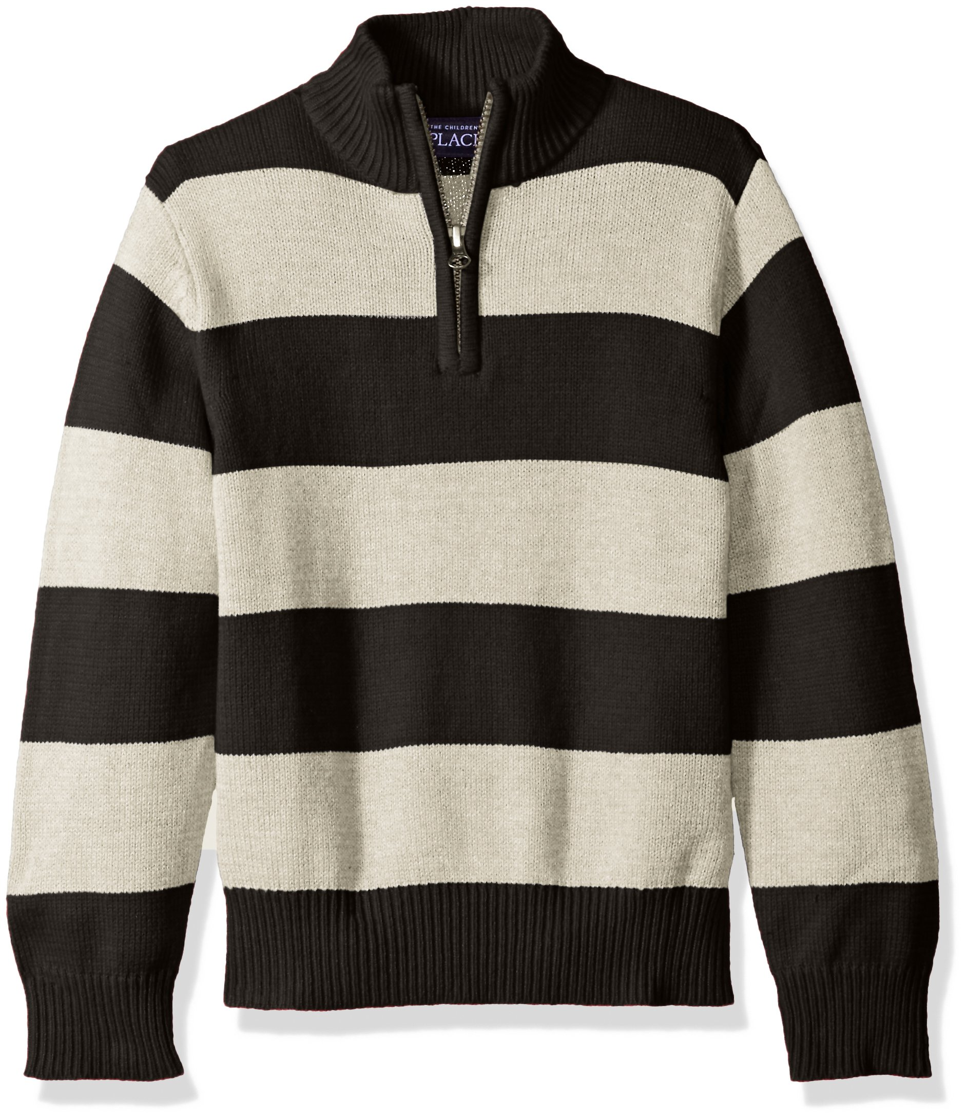 The Children's Place Little Boys' Rugby Stripe Sweater, Stone, Small/5/6