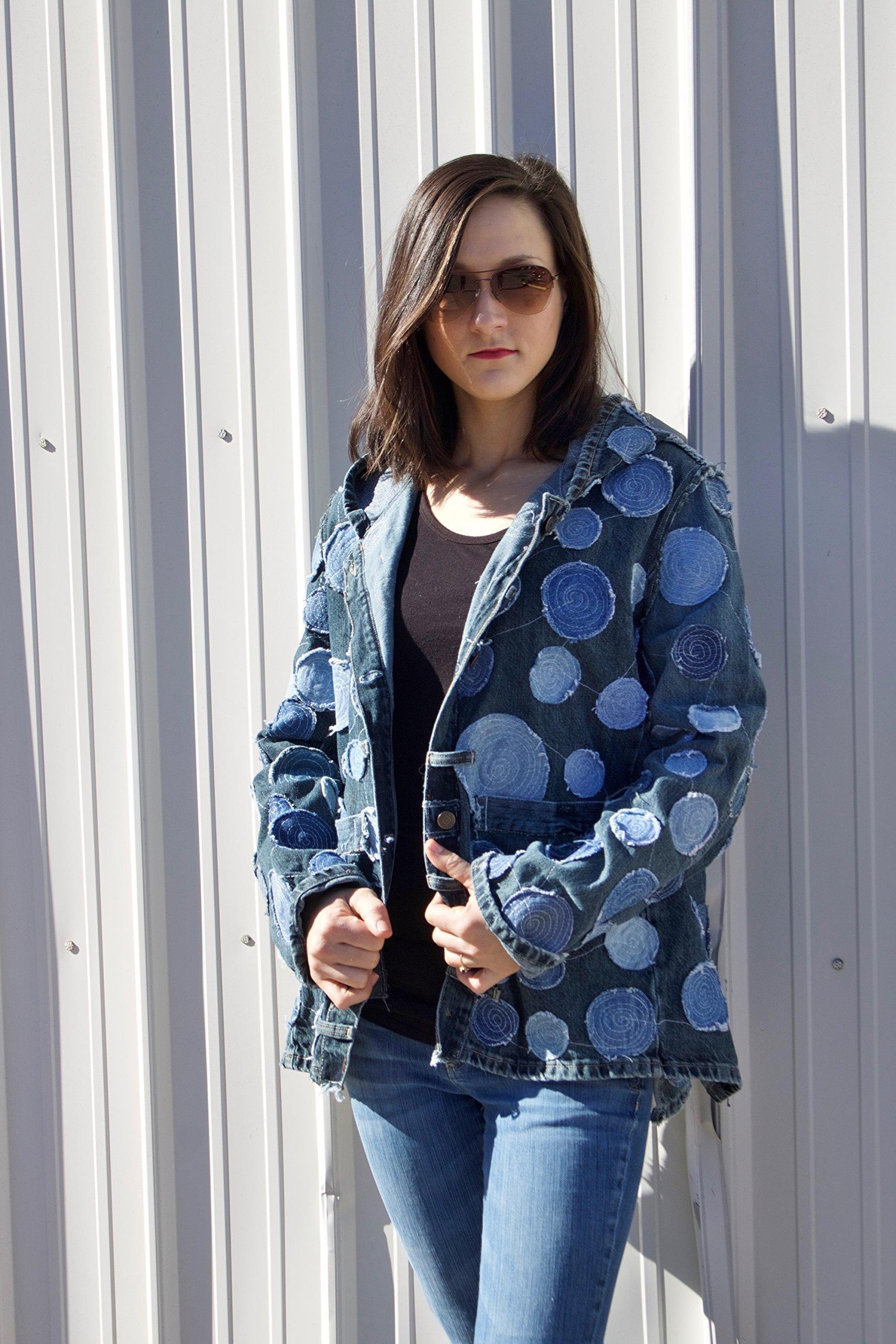 Hooded Denim Jacket Medium with Circle Applique made from repurposed denim