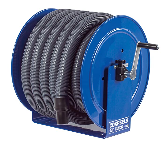 "Coxreels V-117H-835 V-117-850 Vacuum Only Direct Crank Rewind Hose Reel, 1-1/2"" Cuff, 2"" x 35' Hose, Blue"