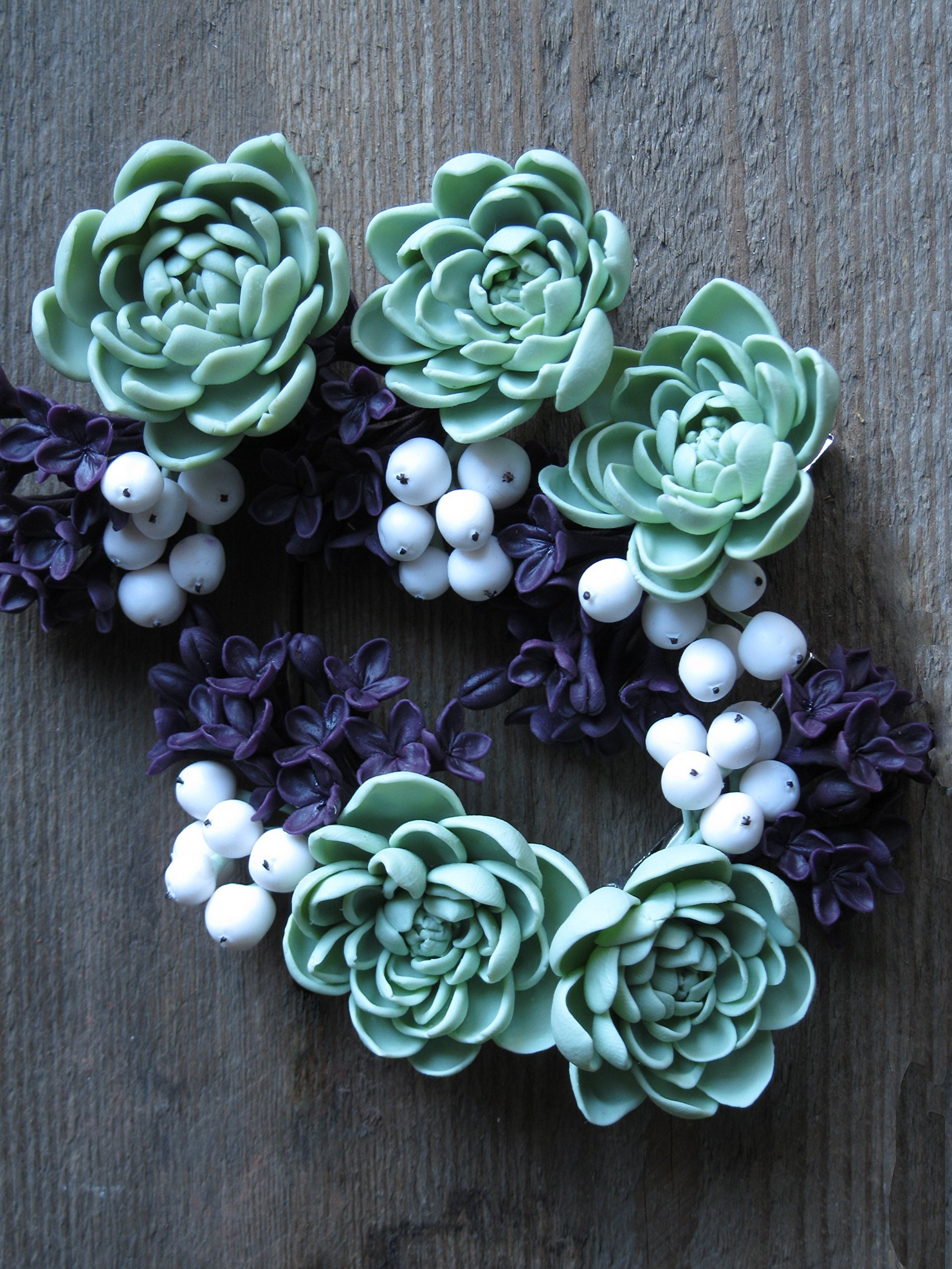 Wedding hair accessories with flowers succulents Sage green gray mint Plum lilac purple violet syringe White berries snowberries Floral hair clip Woodland nature hair piece Bridesmaid hairpiece