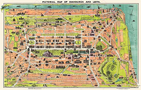 MAP ANTIQUE 1935 REID EDINBURGH LEITH PICTORIAL REPLICA POSTER PRINT