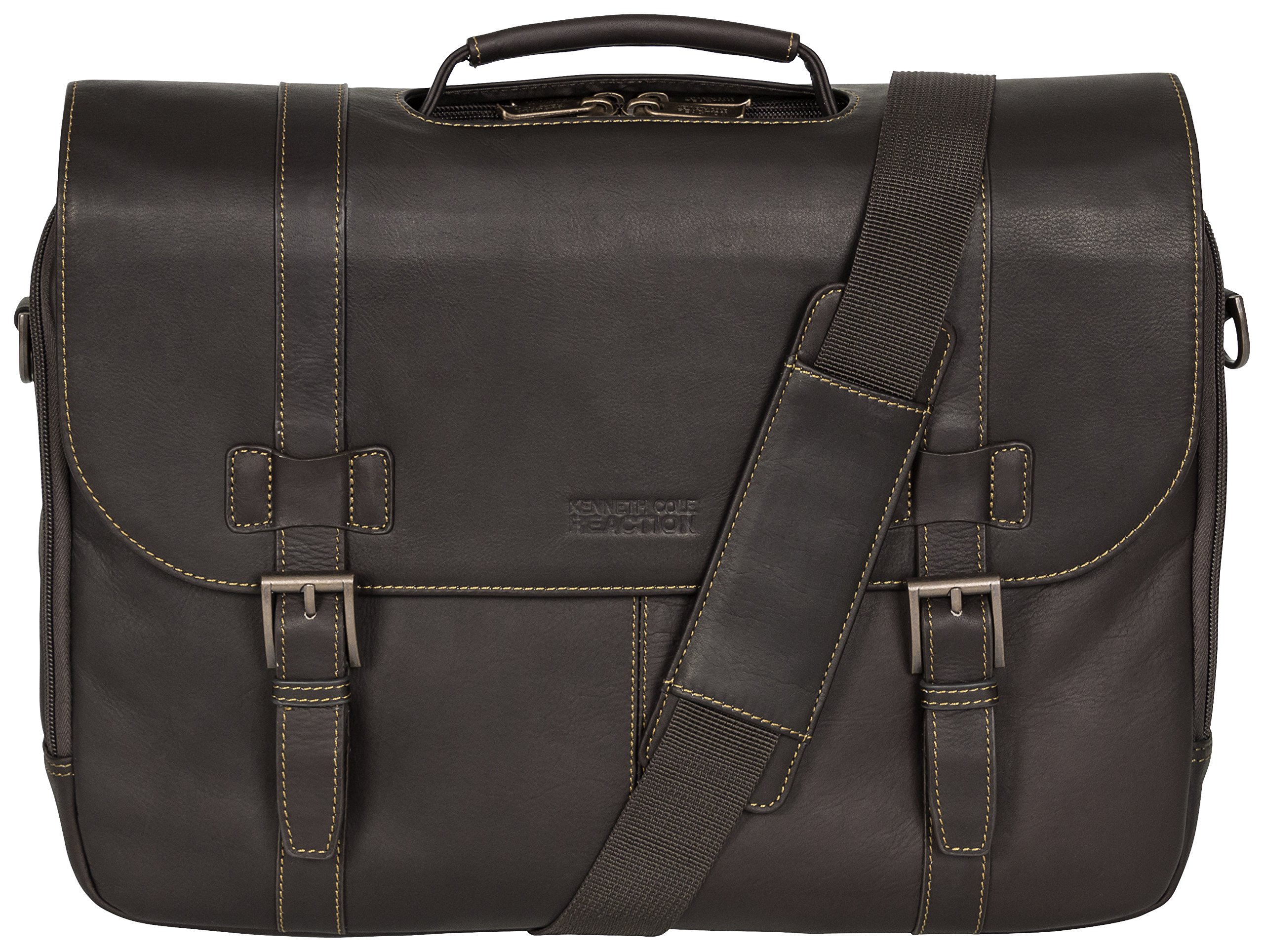 Kenneth Cole Reaction ''Show Business'' Colombian Leather Double Compartment Flapover Portfolio/Computer Case With Pull Through Handle/ Fits Most  15.4'' Laptops, Brown, One Size by Kenneth Cole REACTION