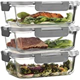Superior Glass Meal Prep Containers - 3-pack (35oz) Newly Innovated Hinged BPA-free Locking lids - 100% Leak Proof Glass Food