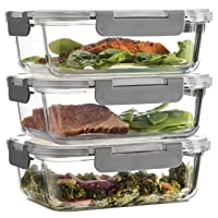 Superior Glass Meal Prep Containers - 3-pack (35oz) Newly Innovated Hinged BPA-free...