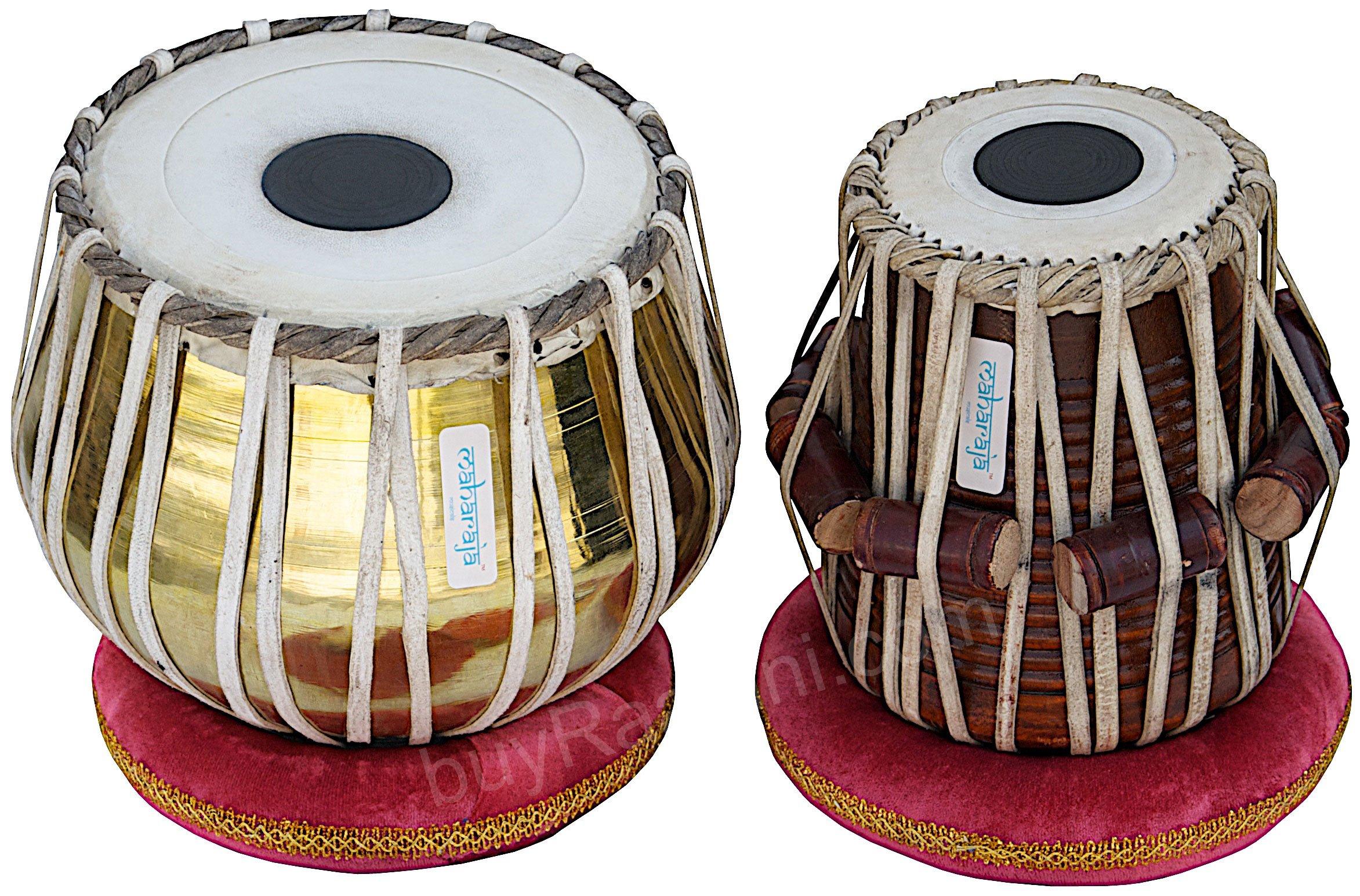 Tabla Set by Maharaja Musicals, Golden Brass Bayan 3Kg, Sheesham Dayan Tabla, Nylon Bag, Hammer, Book, Cushions, Cover, Tabla Indian Drums (PDI-CH) by Maharaja Musicals (Image #2)