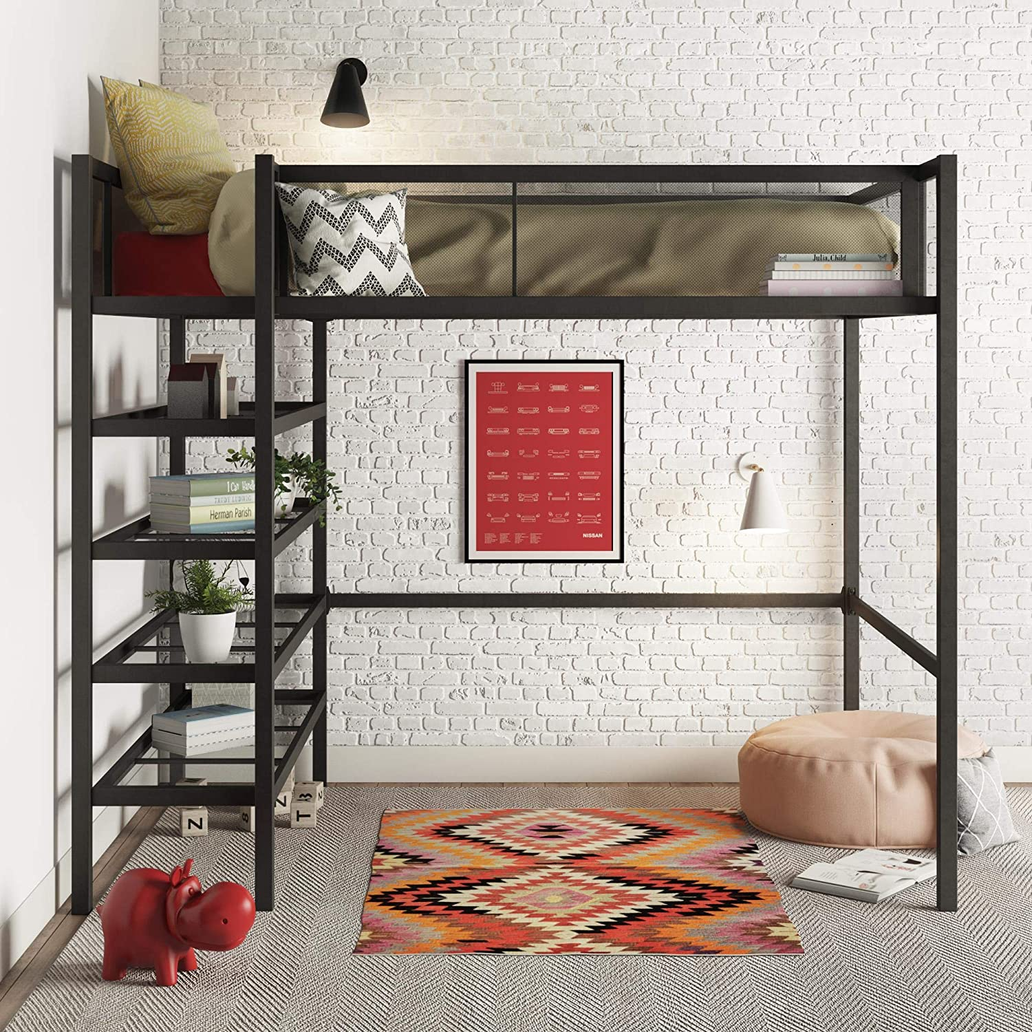 DHP Tiffany Storage Loft Bed with Book Case, Includes Shelves and Under Bed Clearance, Black Metal – Twin