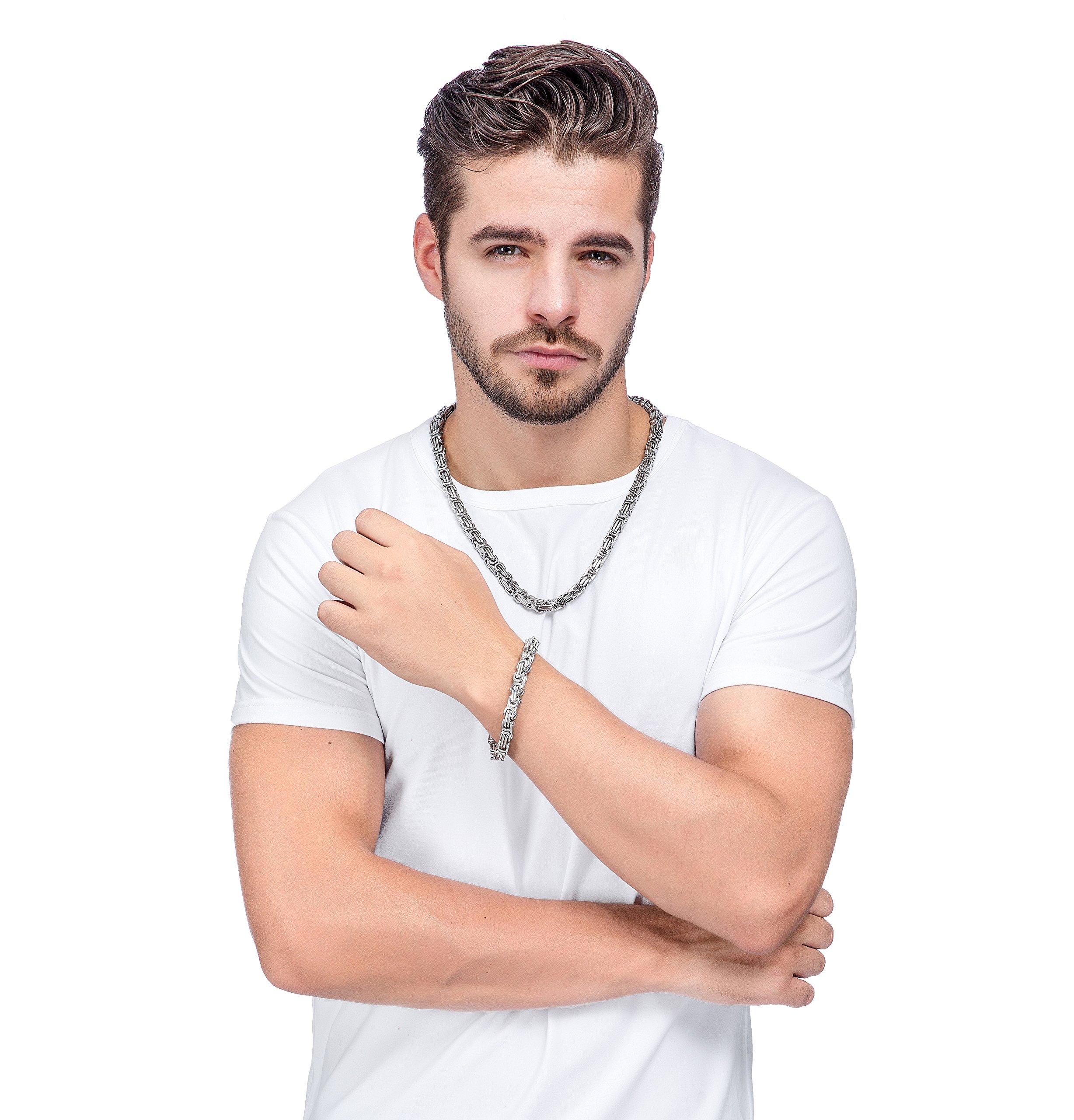Jstyle Stainless Steel Male Chain Necklace Mens Bracelet Jewelry Set, 8mm Wide, 8.5 Inch Bracelet