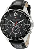 Tommy Hilfiger Men's 1791117 Sophisticated Sport Watch With Black Leather Band