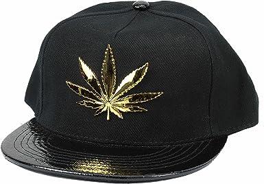 Weed Ganja Metal Leaf Black Snapback Baseball Cap
