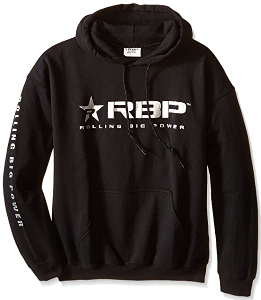 RBP Mens Hooded Sweatshirt with Silver Logo (Black, Medium)