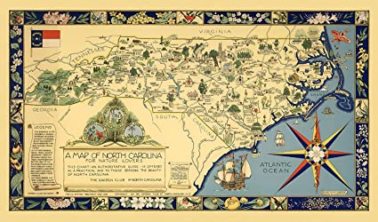 Amazon.com: A Map of North Carolina for Nature Lovers The Garden ...