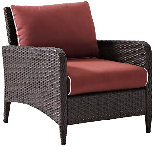 Crosley Furniture Kiawah Outdoor Wicker Arm Chair with Sangria Cushions – Brown