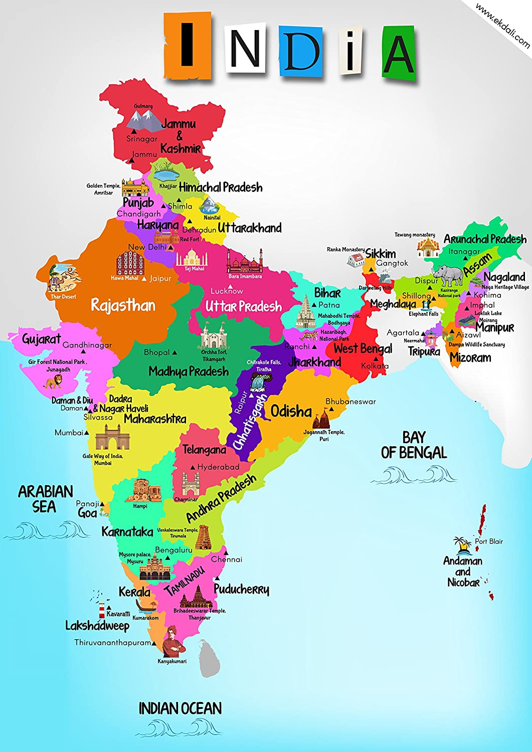 Where Is Hyderabad Located In India Map.Ekdali India Map With Monuments Paper 11 7 16 5 Inch Multicolour