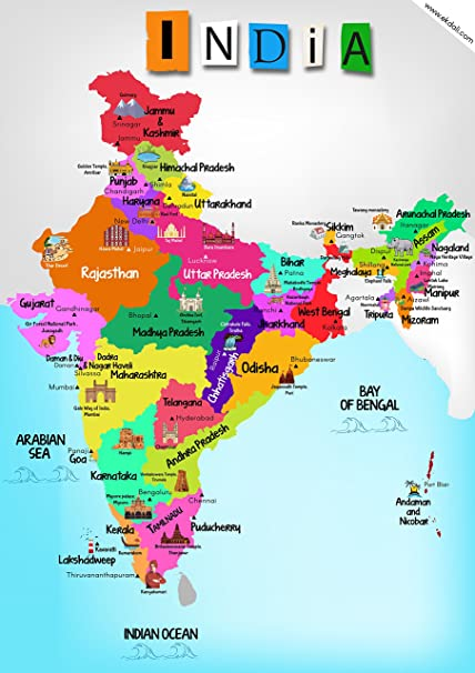 ekdali india map with monuments paper 11 7 16 5 inch multicolour