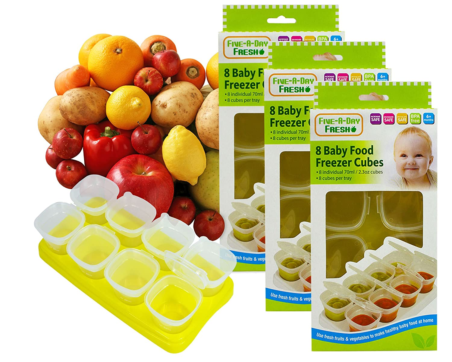 Baby Weaning Food Pots Freezer Tubs Stacking Tray Cubes Containers BPA Free for Storing Mashed Food, Formula, Snacks, Breast Milk & Fresh Food Pack of 3 RSW