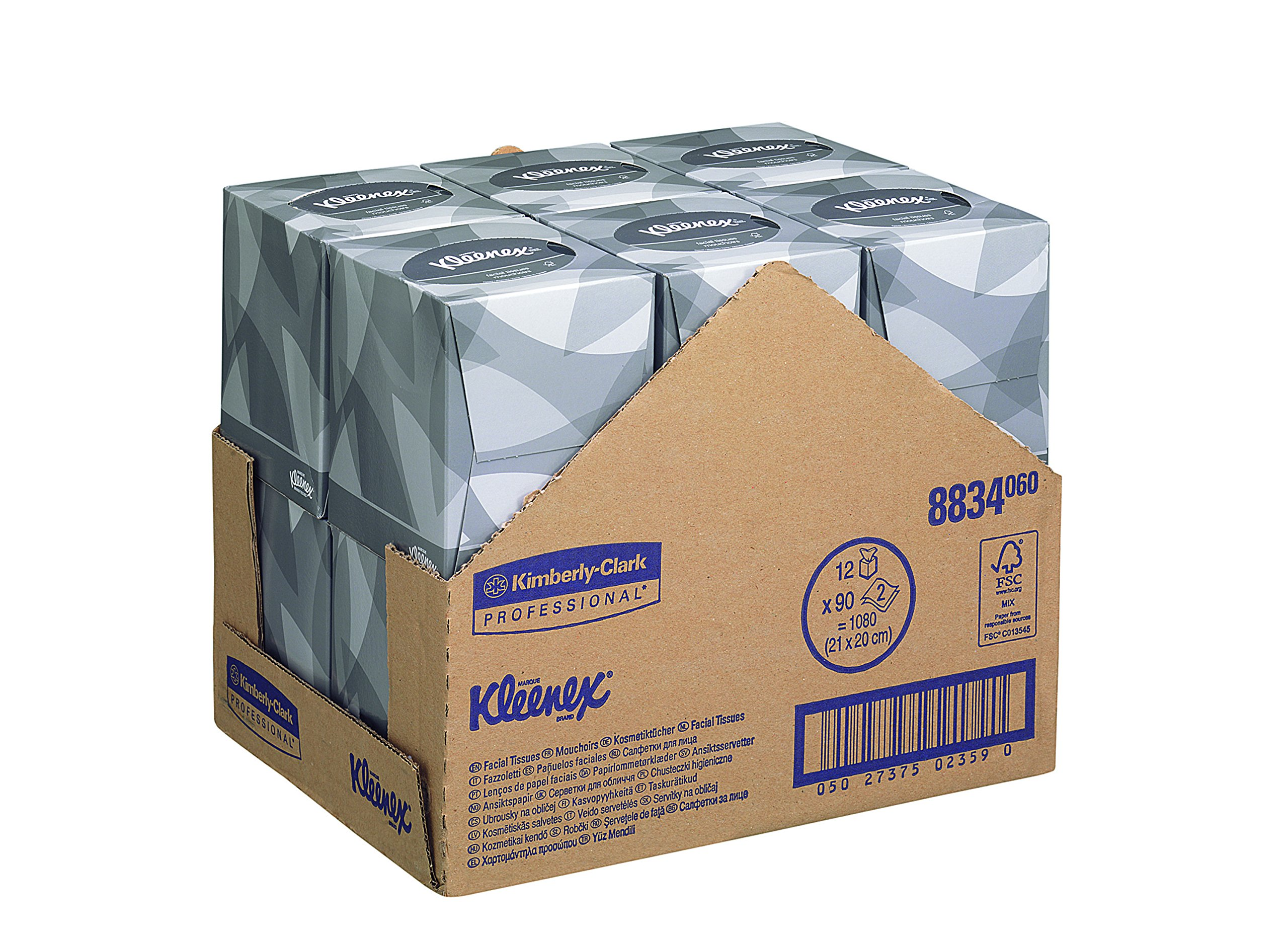 Kleenex Facial Tissues Box 2 ply 90 Sheets Ref 8834 [Pack 12]