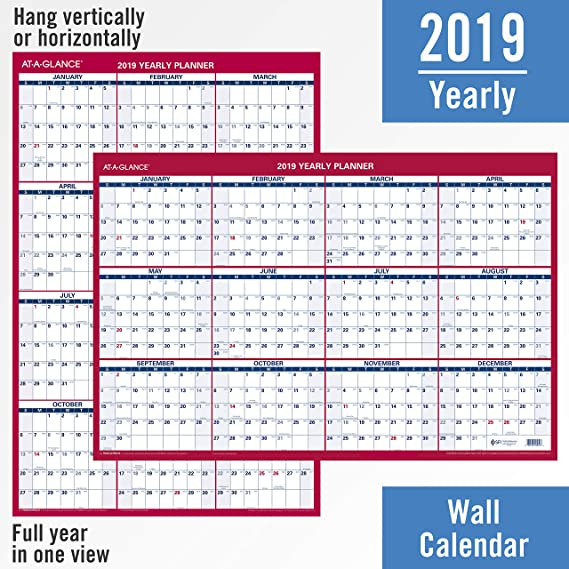 amazoncom at a glance 2019 yearly wall calendar 36 x 24 large erasable dry erase reversible verticalhorizontal bluered pm2628 office