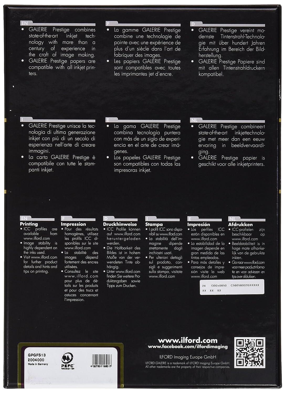 Ilford Galerie Prestige Gold Fibre Silk 310 g//mq 25 fogli formato A4 Carta fotografica per stampanti a getto dinchiostro