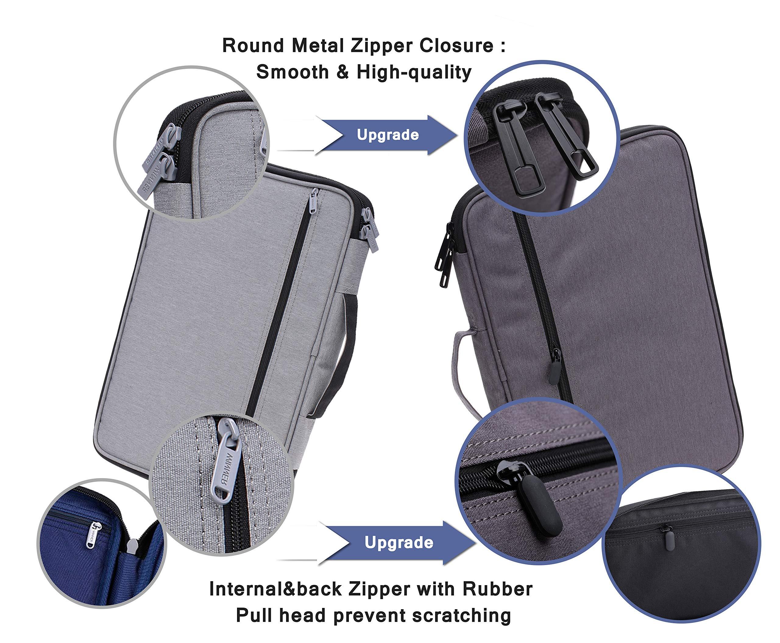 Lazyaunti Commercial Document Portfolio Padfolio Folders Organzier Binder Multi Function Waterproof Travel Pouch Zipper Case for Laptop, Ipad, Kindle, Notebook, Pen (Dark Grey)