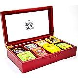 Indianteacompany ITC - Scatola porta bustine di tè, luxury, in legno rosso con coperchio trasparente, con 8 scomparti in velluto, con 80 bustine di tè Twinings, ideale come regalo