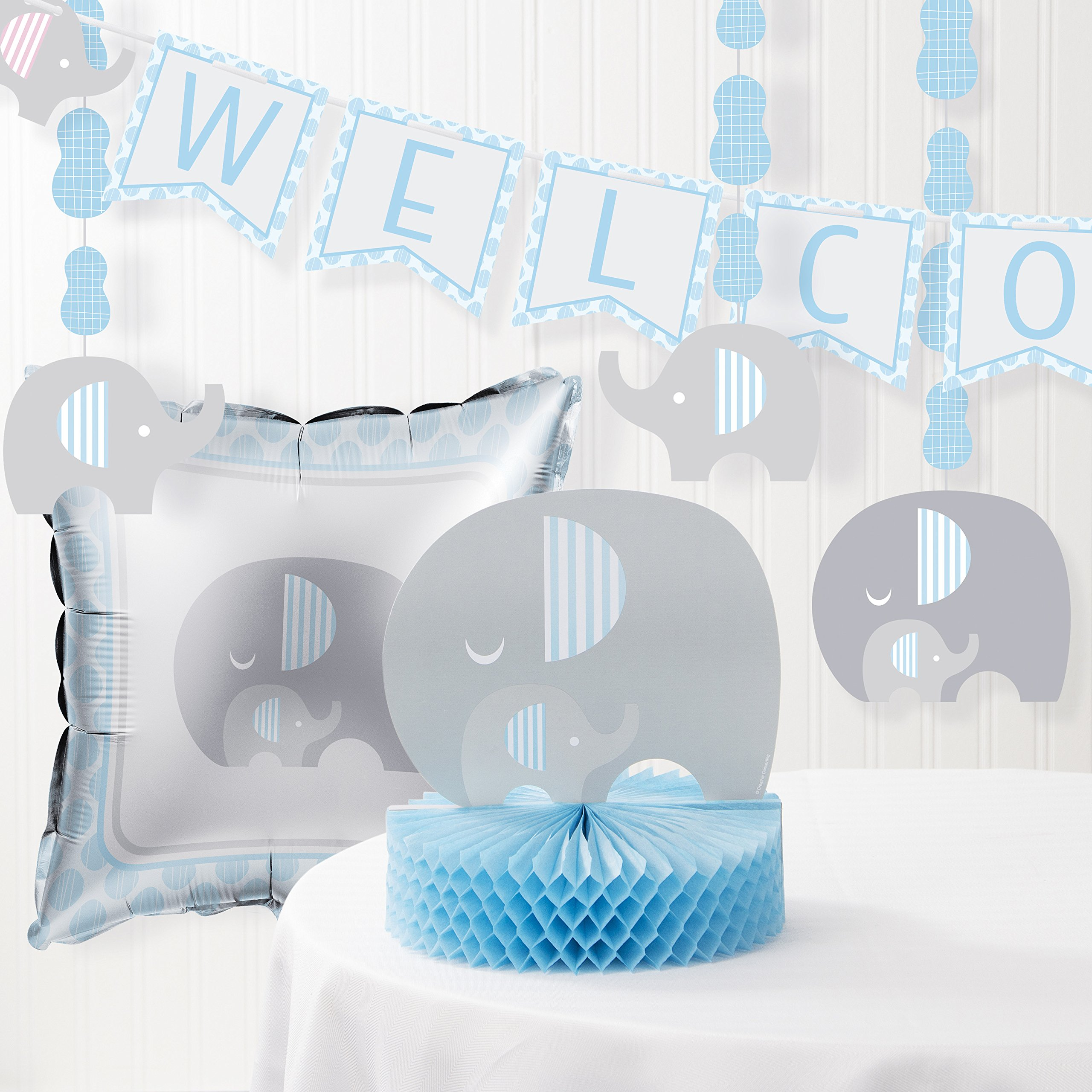 blue elephant boy baby shower supply pack bundle includes paper plates napkins. Black Bedroom Furniture Sets. Home Design Ideas