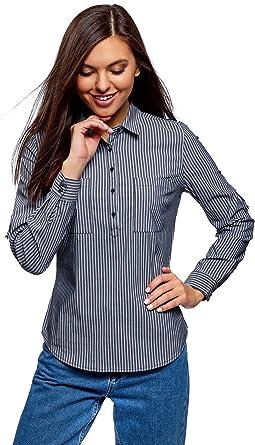oodji Ultra Mujer Camisa a Rayas con Bolsillos: Amazon.es: Ropa y accesorios