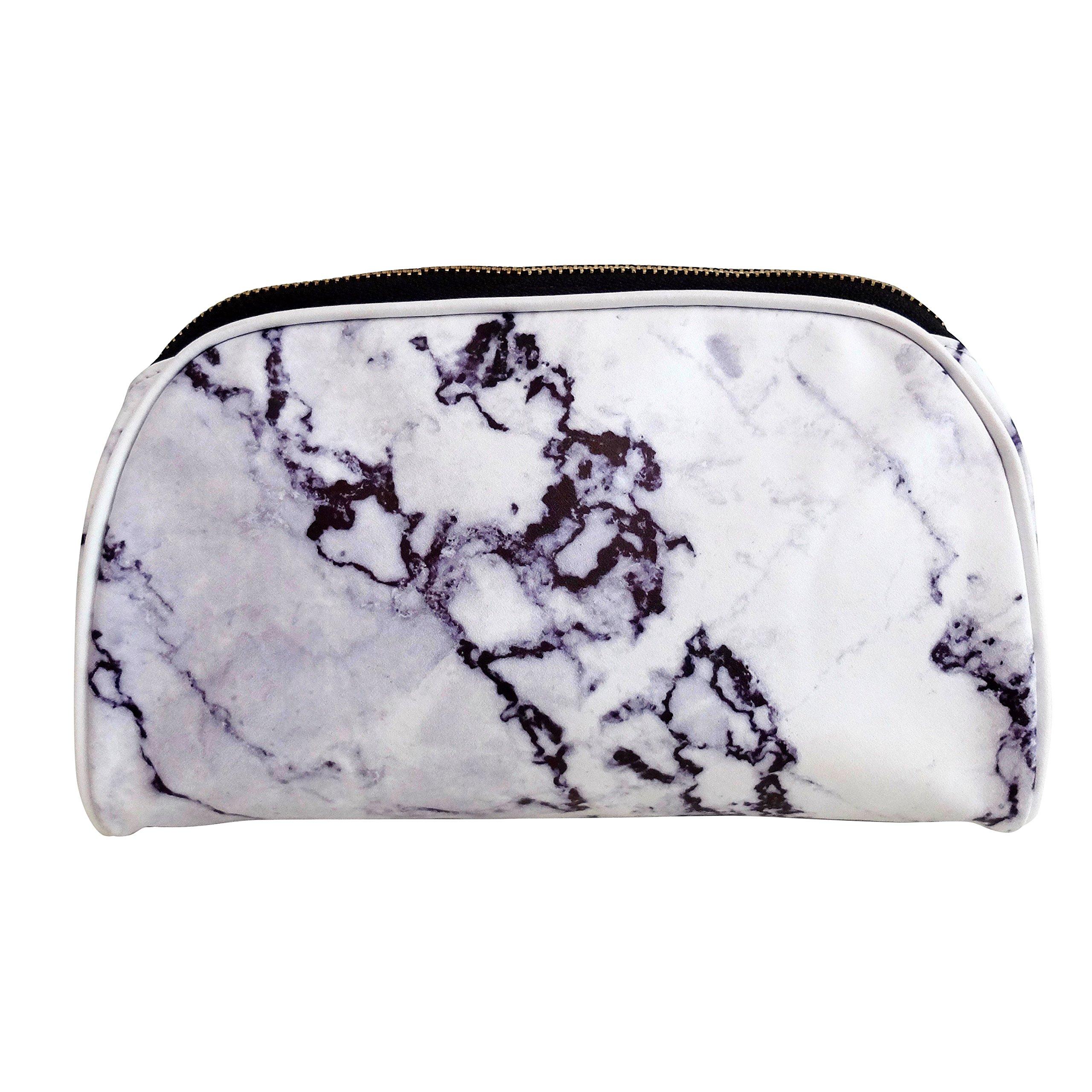 Amazon.com   Luxe B Marble Big Makeup Bag Gold Zipper Travel Size ... 96caf914dcc97