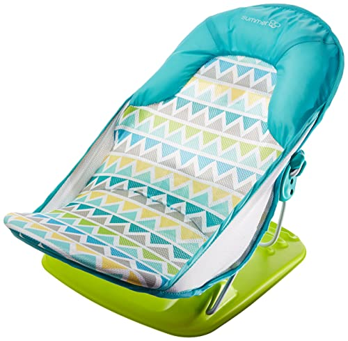 Summer Infant Deluxe Baby Bather triangle stripes in blues and green