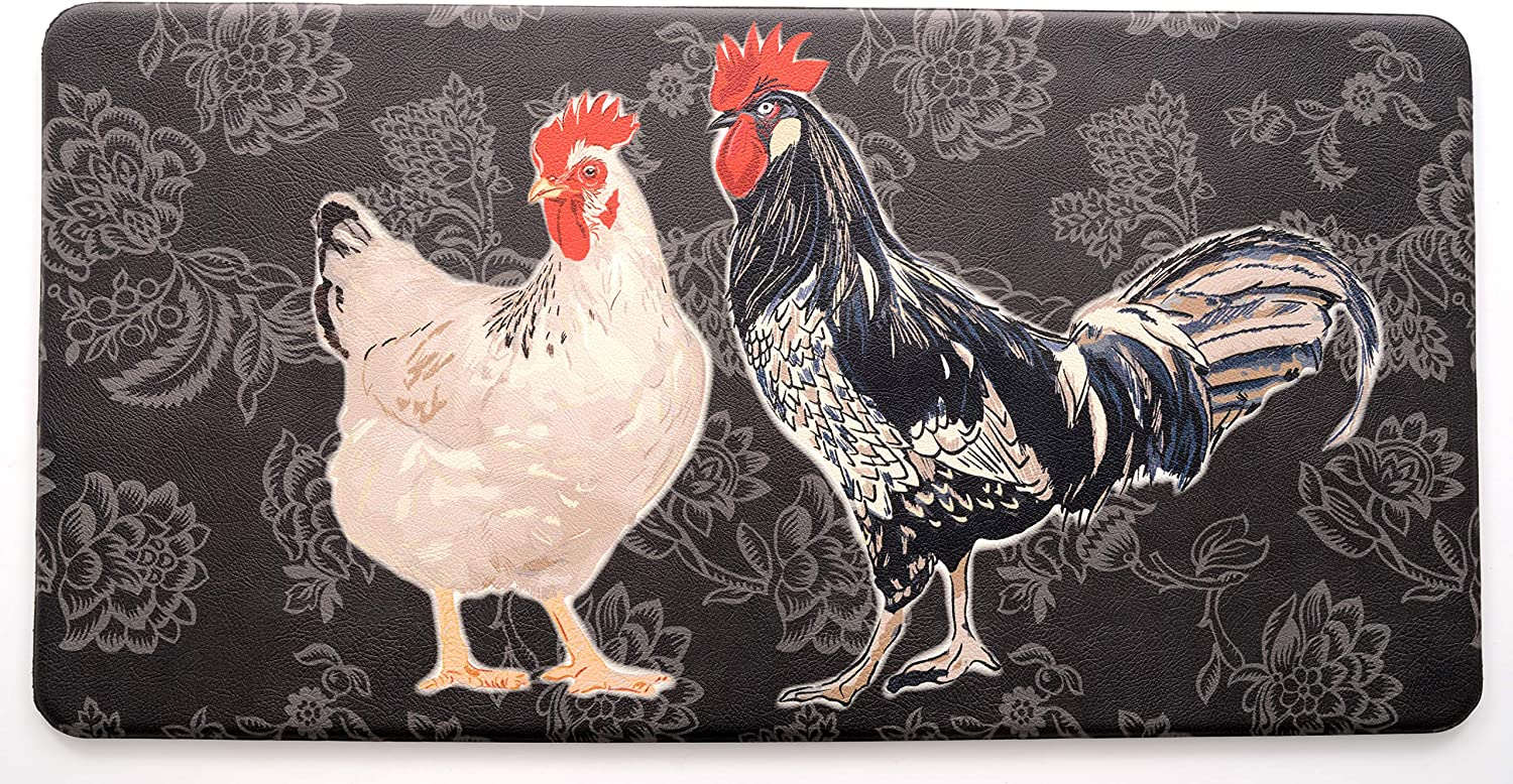 "Stephan Roberts 39N-PAF116-10 Anti-Fatigue Kitchen Mat, 20"" x 39"", Black Rooster"