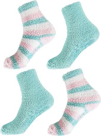 BambooMN - Super Soft Warm Cozy Fuzzy Cozy Home Stripe Socks - 4prs