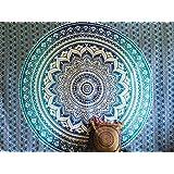 Couvre-lit indien Hippie Gypsy Style Bohème, Décoration de chambre 100% coton imprimé à la main, Tapisserie murale ou drap de Plage Mandala (140X220 CMS TWIN)