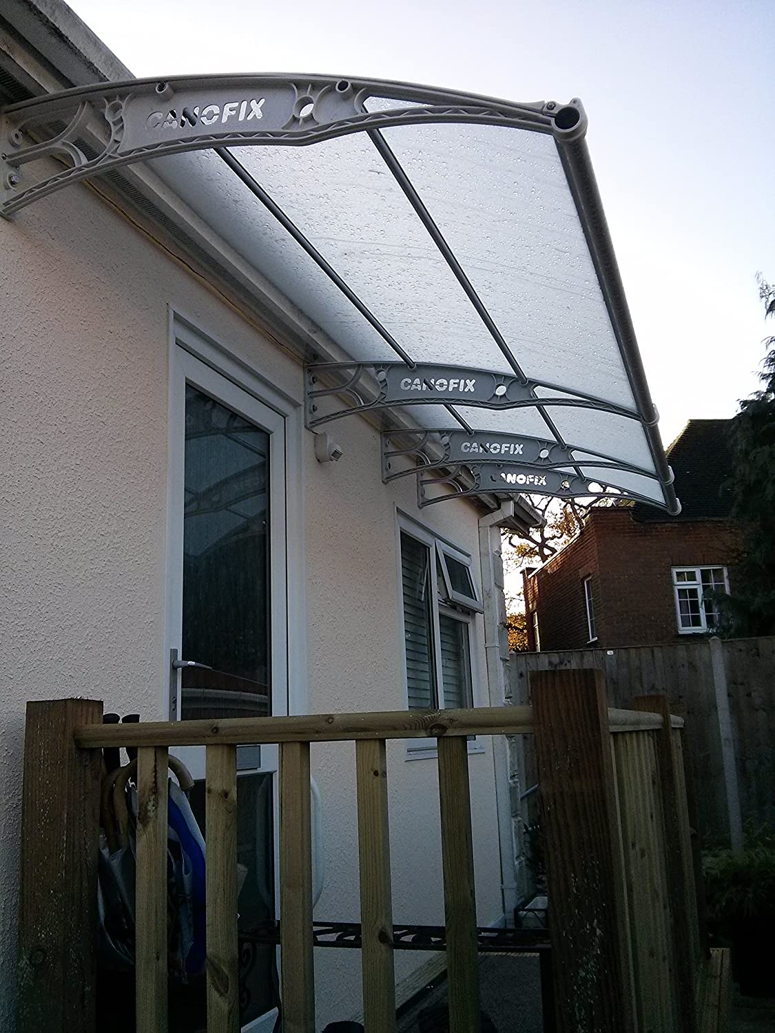 DIY Polycarbonate Cantilever Canofix Canopy 1500x 4000mm/Garden Door Smoking Shelter Walkway Garden Shed Patio (Black or Grey Bracket with Clear ... & DIY Polycarbonate Cantilever Canofix Canopy 1500x 4000mm/Garden ...